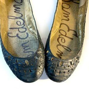Sam Edelman black snakeskin leather ballet flats 6